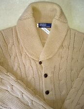 Polo Ralph Lauren Cable Cardigan Sweater Wool Men's Vintage 60's Shawl Collar