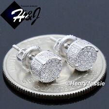 MEN WOMEN 925 STERLING SILVER 6MM LAB DIAMOND ROUND SCREW BACK STUD EARRING*E146