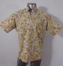 Reyn Spooner Hawaiian traditions men's half button-down shirt mustard L