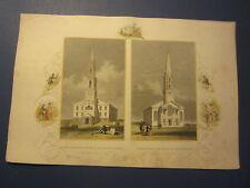 Original Old c.1850 Antique Print - PROVIDENCE R.I. - Baptist / Unitarian CHURCH