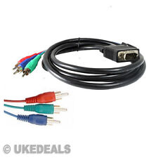1.8M VGA SVGA To 3 RCA Component Cable Gold Plated Lead Fast Delivery NEW