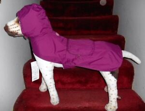 (Sm to Large Pets)  MAGENTA: RAINY DAY POUCH PET DOG RAINCOAT HOODIE