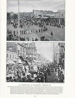 1897 VICTORIAN PRINT ~ GEELONG VICTORIA St PATRICKS DAY LONDON ONTARIO UNION day