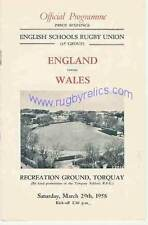 ENGLAND v WALES SCHOOLS UNDER 16 March 29th 1958 RUGBY PROGRAMME at TORQUAY