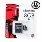 Lot of 10 Kingston 8GB MicroSD SDHC Class 4 Memory Flash Card SDC4/8GB Pack