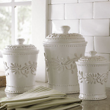 Ceramic Kitchen Canister Set White Ivory Counter Coffee Sugar Flour  Canisters 3