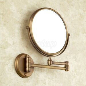 Antique Brass Folding Dual Arm Extend Bathroom Mirror Wall Mounted Makeup Mirror