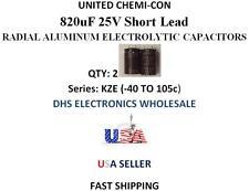 United Chemi-Con 820uF 25V QTY: 2 Aluminum Electrolytic Radial Capacitors 105c