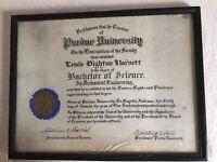 Vintage Purdue University 1908 Diploma
