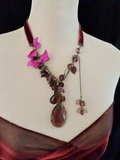 Statement Halskette lang 32cm Samt-Band & Multi Harz Perle - lila 122pp