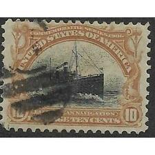 2v1160 Scott 299 US Stamp 1901 10c Fast Ocean Navigation Used Number 3 Cancel