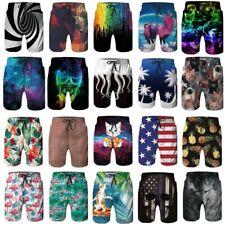 3D Printed Mens Quick Dry Swim Trunks Summer Surfing Beach Board Shorts Swimwear