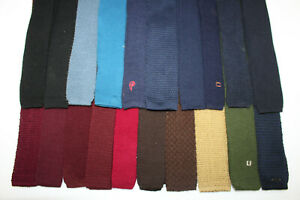 LOT OF 20 TRUNK TIES KNITTED VARIOUS COLORS SOLID. F16231