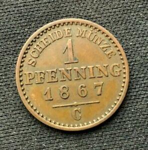 1867 c German States Prussia 1 Pfennig Coin XF +    World Coin Copper      #C504