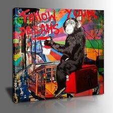 Framed Monkey Follow Your Dreams Canvas Painting Graffiti Giclee Wall Art
