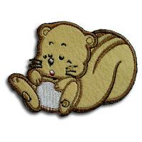 Squirrel Patch Iron on Animal Cute Kids Sew Badge Forest Boy Boho Retro Biker V2