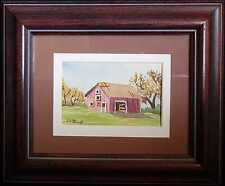 Southwestern Red Barn, Original 4x6 Mini Landscape Painting by Vivian Ashcraft