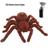 2CH Remote Control Spider Soft Plush Scary Creepy Infrared RC Tarantula Toy XAMS