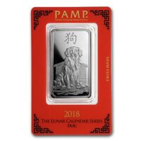 2018 ~ 1~OZ~PURE .999 SILVER~ YEAR of the DOG ~ PAMP SUISSE ~ SEALED BAR ~$54.88