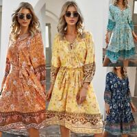 Women's Sexy Slim V Neck Midi Dress Lady Floral Print Casual Ball Gown Dresses