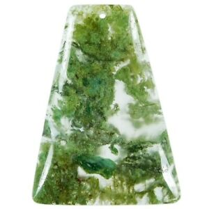 Moss Agate 51x38x6 mm Pendant bead EM010111