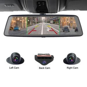 "Car DVR Video Recorder 4G 10"" Media Rearview Mirror with 4 cameras gps dash cam"