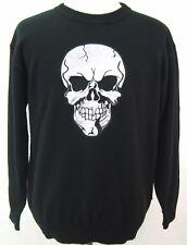DRAGONFLY CLOTHING COMPANY MENS SZ M BLACK SKULL 100% ACRYLIC SWEATER HALLOWEEN
