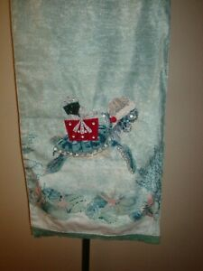 "New Sigrid Olsen Table Runner 16x72"" Christmas Holiday Beach Beaded Santa Turtle"