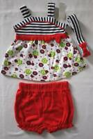NEW Baby Girls 3 pc Outfit 0 - 3 Months Shirt Diaper Cover Headband Set Red Blue