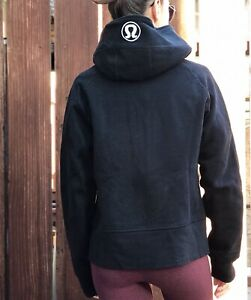 Lululemon Warm Hooded Jacket Black Full Zip Logo Embroidery Fleece Lined Sz 10