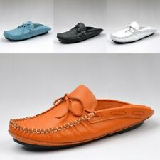 Mens Summer Slip On Backless Real Leather Sandals New Slipper Mules Shoes Comfy
