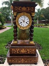 Very Fine NAPOLEON III MARQUETRY Portico Clock on Stand  c. 1870  antique French