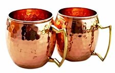2 Hammered Copper Moscow Mule Mugs Handmade 100 Pure Copper Brass Handle Cup NEW