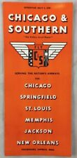 Chicago & Southern Airways Airlines Timetable July 1 1939 Fly C&S