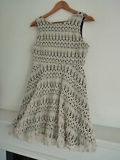 Ladies Lovely River Island Cream & Black Thigh Length Dress Size 10, Vgc