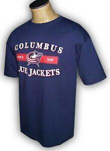 Columbus Blue Jackets NHL T-shirts Ice hockey 100 % Cotton Navy Blue NEW OHIO oh