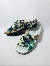Tabarca By Pepa Multi-Colored Graffiti Print Leather Slides Comfort Shoes Sz 38