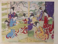 Femmes pratiquant la sériculture, estampe japonaise en couleurs, avant 1901