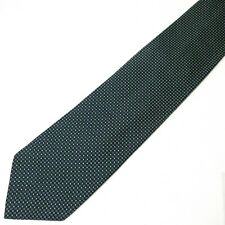 "Ermenegildo Zegna Italian Silk Tie Black w/ Green Pin Micro Dots Polka 60""x3.5"""
