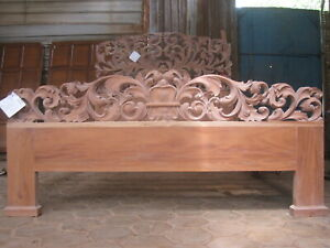 5' UK King Mahogany Wood  French style  floral carved oriental designer bed