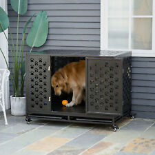 45'' Heavy Duty Dog Pet Crate Kennel Cage Playpen Metal W/ Tray Castor Black