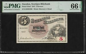 Sweden 5 Kronor 1947  PMG 66 EPQ UNC   Pick # 33ad