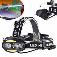 40000Lumen LED XML T6 + COB Headlamp Headlight USB Rechargeable Head Torch