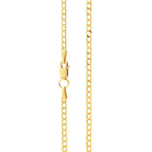 Mens Gold Chain Necklace 2.3 mm wide Diamond Cut Curb Style