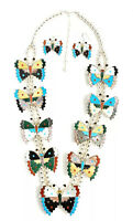 Native American Sterling Silver Zuni Handmade Multicolored Butterfly Squash Set
