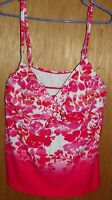 Swimsuits For All Pink White Floral Tankini Swim Top Size 24 New with Tags