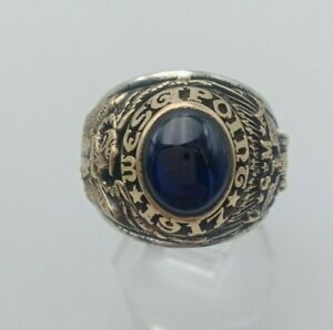 US Military Academy West Point Rings 1917 , USMA  , Sapphire Stone , Gold 10k