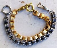 1 Repro Victorian Bracelet book chain watch chain Wide Gold Silver Heavy Charm