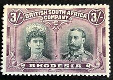 Rhodesia, SG158, BSAC, Double Heads, 3/-, MINT, Violet, Scarce, KGV, 1910.