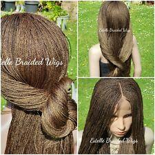 "Brown Mix Braided Wig, Micro Twist Braids, Lace Closure, Million Braids Wig! 26"""